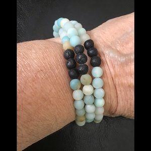 Jewelry - Amazonite  & Lava Stone Healing Bracelet/ Necklace